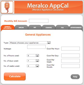 The new meralco appliance calculator (m. A. C. ).